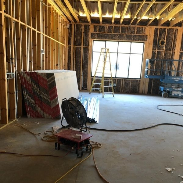New construction building, framed in and electrical for the multi-purpose room